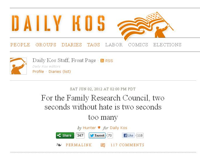 """Daily Kos Engenders """"Atmosphere of Hatred"""" Against Family ... Daily Kos"""