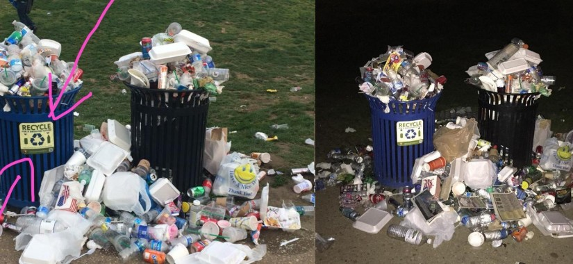 trash at the national mall after earth day