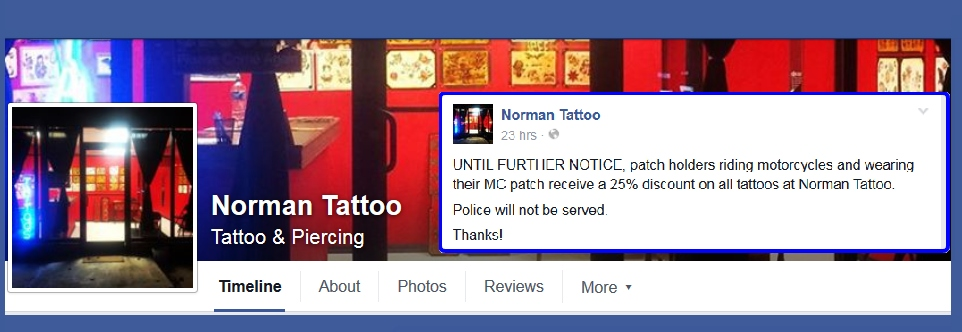 Oklahoma tattoo shop bans police gives bikers 25 for Tattoo shops in waco tx